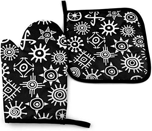 Guantes de Cocina Resistentes al Calor y Juego de Mantel Individual Símbolo de la antigua civilización del sol con Silicona Antideslizantes para Cocinar, Asar(Juego de 3 piezas)