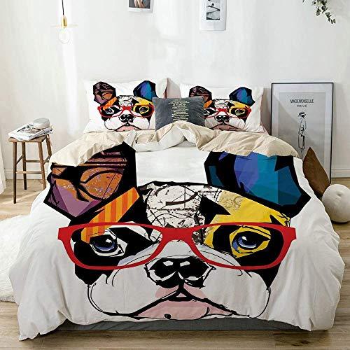 Juego de Funda nórdica Beige, Colorida ilustración Abstracta de un Animal canino con Gafas Arte Moderno, Decorativo Juego de Cama de 3 Piezas con 2 Fundas de Almohada Fácil Cuidado Antialérgico Suave