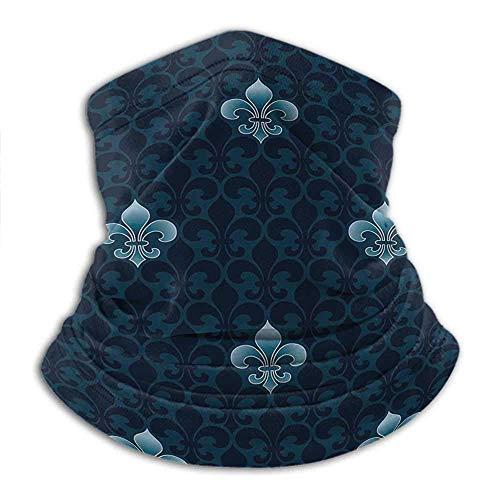 asdew987 Pasamontañas estilo clásico con diseño de historia de la realeza y armas reales de Francia simbólico arte estilizado azul marino cuello calentador braga