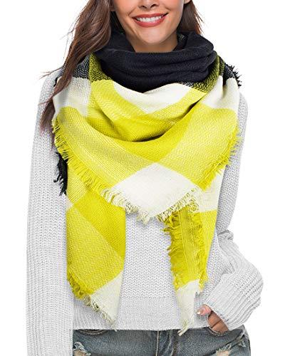 heekpek Bufandas Mujer Invierno Grib Grande Chal Cálido Moda Bufandas Largas de Invierno (Amarillo)