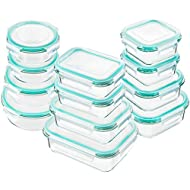 Bayco Glass Food Storage Containers with Lids, [24 Piece] Glass Meal Prep Containers, Airtight Glass Bento Boxes, BPA Free & Leak Proof (12 lids & 12 Containers) - Blue