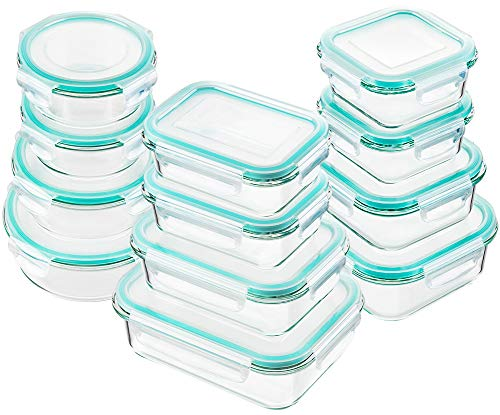 Bayco Glass Food Storage Containers with Lids 24 Piece Glass Meal Prep Containers Airtight Glass Bento Boxes BPA Free amp Leak Proof 12 lids amp 12 Containers  Blue