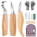 Wood Carving Knives Tools Set, Wood Spoon Making Carving Tools Kit with Carving Hook Knife, Wood Whittling Knife, Chip Carving Knife Resistant Gloves for Wood Carving Spoon Bowl Cup (7 in 1)