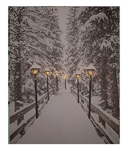 LED Wandbild 50x40 cm - Winterlandschaft mit 6 LED´s - Leinwand beleuchtet Leucht Bild