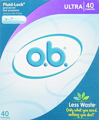 o.b. Original Non-Applicator Tampons, Ultra Absorbancy, Pack of 40 Tampons