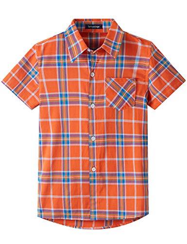 Spring&Gege Jungen Kurzarm Karo Hemd, Plaid Knopf Unten Hemd für Kinder, Orange, 140-146/9-10 Jahren