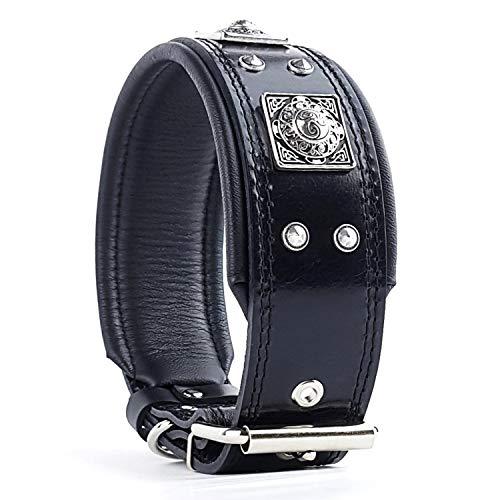 Bestia® EROS Lederhalsband für große Hunderassen mit Altsilber Dekoration und weicher Innerpolsterung