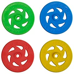 Perfect for small car projects High quality, durable plastic Lightweight and low inertia, great for wind-powered vehicles Comes in red, blue, yellow, and green in equal measure (25 of each color) Wheel diameter is 1.36 inches. Inner hole diameter is ...