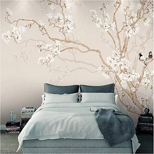 Wuyii wandbehang, moderne, Chinese stijl, handbeschilderd, magnolia bloesem, vogel, fotobehang, slaapkamer, decoratie voor thuis 250 x 175 cm.