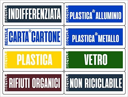 16 Etichette per la gestione dei rifiuti - KIT BASIC - formato 120x45 mm