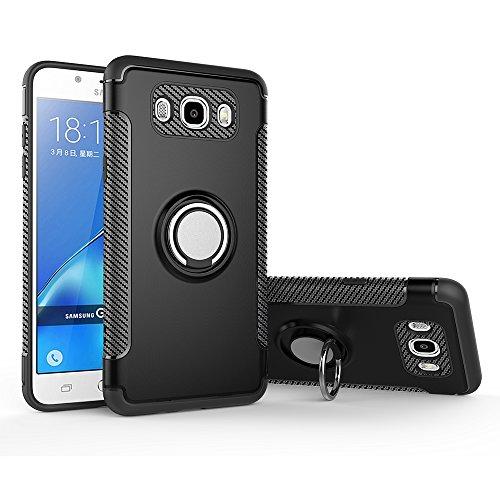Case for Samsung SM-J5108 Galaxy J5 6 / SM-J510G/DS Galaxy J5 2016 / SM-J510GN/DS SM-J510FN/DS SM-J510F/DS SM-J510UN/DS /SM-J510S/K/L Case Cover + 360 Degree Rotating Ring Holder Kickstand Black
