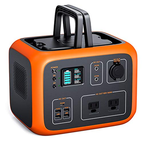 TACKLIFE Power Station 300W, 500Wh Portable Outdoor Solar Generator, Pure Sine Wave Dual AC Outlets, 45W USB-C, Wireless Charging, Solar Ready Generator for Outdoor Camping/Outage Emergency/Adventure