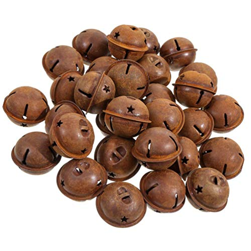 EXCEART 30pcs Rusty Jingle Bells Christmas Jingle Bells with Star Cutouts Christmas Sleigh Bells for Wreath, Holiday Home and Christmas Decoration