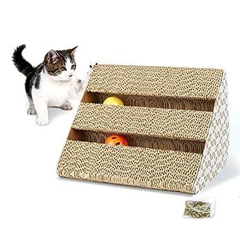 Hengu Griffoirs pour chats, Griffe Grattant les Meubles, Tapis à Gratter Grattoir de Griffe de Chat Carton Ondulé Recyclable avec 2 Cloche Balles & Cataire