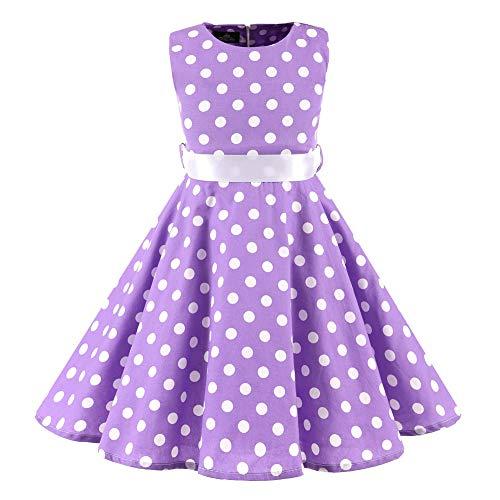 SXSHUN Mädchen Retro Vintage Rockabilly Kleid Partykleider Cocktailkleider Im 50er-Jahre-Stil, Violett + Weiß Punkt, 146 (Etikettengröße:150)