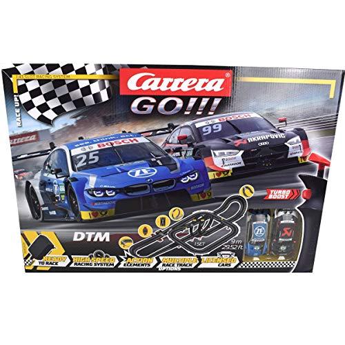 Carrera 20062520 Carrera GO!!! Race UP! Rennstrecken-Set | 9 m elektrische Rennbahn mit Audi RS 5 Rockenfeller & BMW M4 Eng | mit 2 Handreglern & Streckenteilen | Für Kinder ab 6 Jahren & Erwachsene