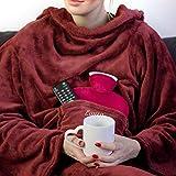 Smyla Hugz - Plaid avec Manches - avec prénom (Rouge foncé) |avec Broderie au Choix | Idéale en Couverture Douillette sur Le canapé et/ou Devant la télé |Superbe Cadeau Pur Femme