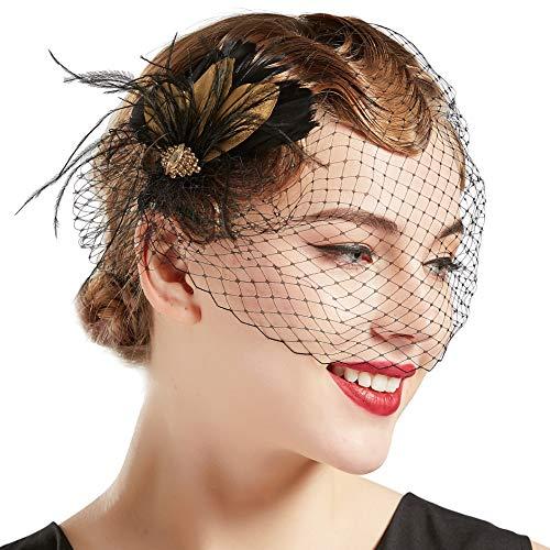 Coucoland 1920s Feder Stirnband Fascinator Haarspange Hochzeit Braut Fascinator Haarclips Elegant Damen Charleston Great Gatsby Fasching Kostüm Accessoires (Stil 3 - Schwarz)