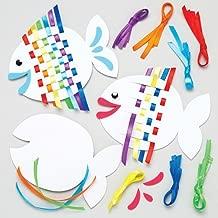 Baker Ross Rainbow Fish Weaving Kits Kids - Summer Craft Sets Children to Make (Pack of 6)