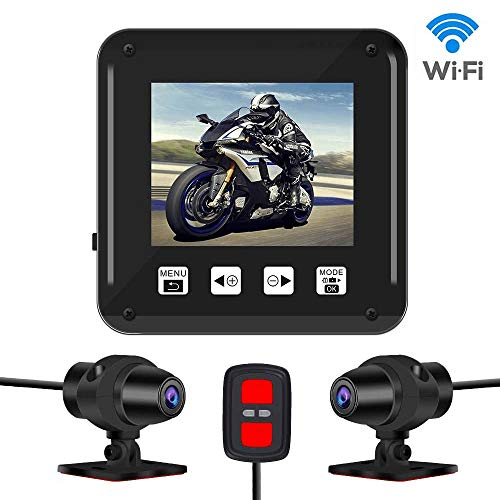 Vsysto Dash cam,Dual 1080P Sport Accident Proof Camera DVR, Full Body Waterproof, with 2'' Screen, IMX323, Front and Rear Camera Driving Recorder for Motorcycle, Bike