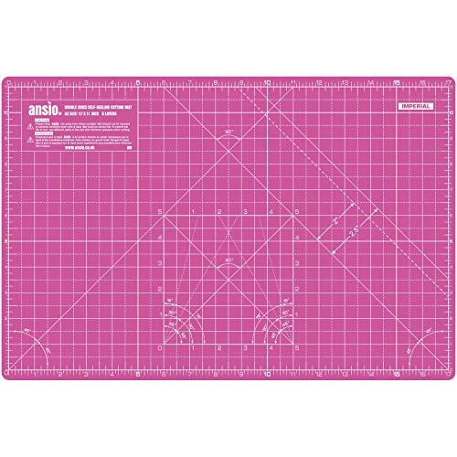 ANSIO Base De Corte A3 Doble Cara Auto Curación 5 Capas Para Costura y Manualidades - Imperial/Métrica 17 x 11 pulgadas / 42 x 27 cm- Super Rosa/Lavanda Morada
