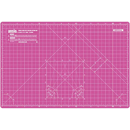 ANSIO Base De Corte A3 Doble Cara Auto Curación 5 Capas Para Costura y Manualidades - Imperial/Métrica 17 x 11 pulgadas / 42 x 27 cm- Super Rosa / Púrpura Lavanda