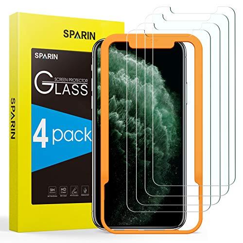 SPARIN 4-pack skärmskydd kompatibelt med iPhone 11 Pro, iPhone XS, iPhone X, 14 cm härdat glas skärmskydd med enkelt installationsverktyg, HD klar