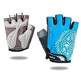VEBE Women's Biking Cycling Gloves Non-Slip Shockproof Short Finger Gloves Outdoor Riding Mountain Bike Gloves… (Blue, M)