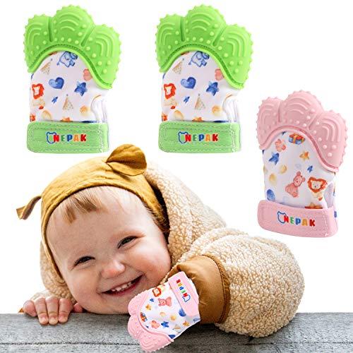 NEPAK 2 Pcs Guante Dentición Bebé,Guante mordedor bebé,Baby dentición Manoplas,Silicona Flexible,Protege Manos Bebés(Imagenes de Dibujos Animados,Verde Brillante + Rosa)