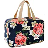 Toiletry Bag for Women Portable Cosmetic Bag Large toiletries Organizer Storage Bag Navy Rose Toiletry Kit Leakproof Travel Make Up Bag for Girls Floral Cosmetic Case (Navy Rose)