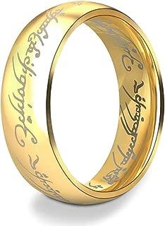 Anyasun Titanuim Steel Rings Printed with Lord of Rings Wedding Band Rings for Women Men