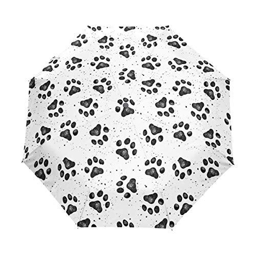 Chic Houses Huellas de perro automático abierto cierre plegable paraguas portátil de viaje lindo cierre simple con protección UV resistente al viento impermeable 2030120