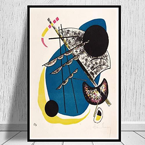 MJKLU Línea geométrica Abstracta Wassily Kandinsky Obras de Arte Punto y línea a Plano Lienzo Pintura Arte de la Pared Póster Dormitorio Sala de Estar Oficina Estudio Decoración para el hogar