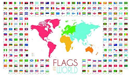 Chicbanners Vlaggen van de Wereld en Kaart V3 1500mm x 900mm Muursticker Zelfklevende Poster Muur Kunst grootte 1500mm breed x 900mm diep