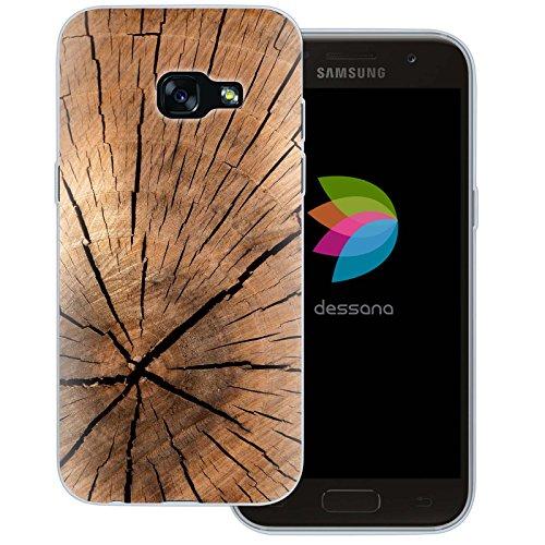 dessana Holz Maserung Transparente Silikon TPU Schutzhülle 0,7mm Dünne Handy Tasche Soft Case für Samsung Galaxy A3 (2017) Pinien Holz
