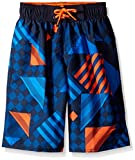 Speedo Boys Checked Stripe Volley Short Swim Trunk, Orange Glow, XX-Small