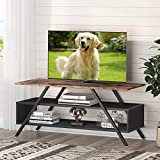 Tribesigns TV Stands for TV's up to 55',Industrial Entertainment Center Console Table Coffee Table with Storage Shelves for Living Room and Bedroom, Rustic Brown.