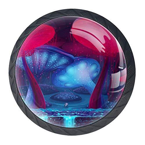 BestIdeas Pomelli Rotondi per cassetti, 4 Confezioni da 35 mm, con Palme Blu, Ideali per Camera da Letto, cassettiera, Armadio, Cucina, Fantasy Sewer, 3.5×2.8CM 1.38×1.10IN