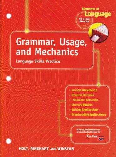 Holt Elements of Language: Grammar, Usage and Mechanics Language Skills Practice Grade 8 (Elements of Language, Second Course)