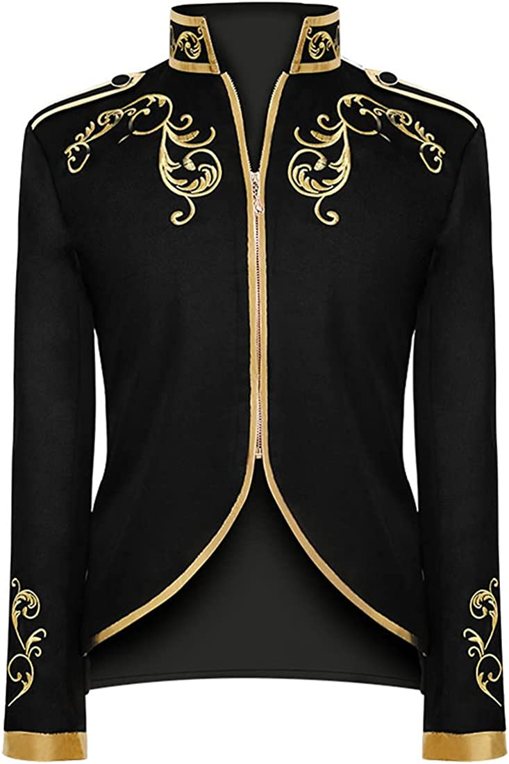 YESBOR Mens Medieval Coat Embroidered Blazer Prince Costume Suit Jacket