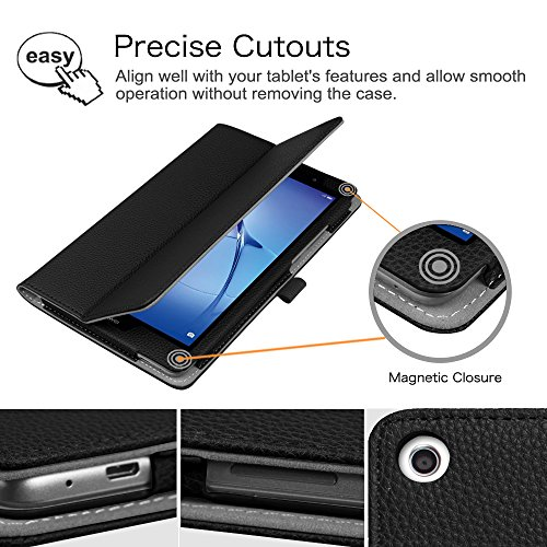 Fintie Huawei Mediapad T3 8 Hülle Case - Ultra Schlank Kunstleder Folio Schutzhülle Etui Tasche Case Cover mit Standfunktion für Huawei MediaPad T3 8 20,3 cm (8,0 Zoll) Tablet-PC, Schwarz - 4