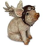 Objectz Flying Pig - Figura de cerdo volador (16 cm), diseño de piloto con alas y gorro de piloto