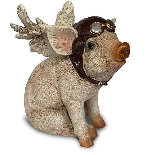 Objectz Flying Pig - Pilot - fliegendes Schwein - witzige Skulptur Figur mit Flügel und Pilotenhaube - rosa pink 16 cm