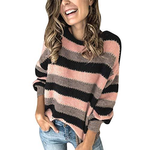 H-fragrance Damen Sweatshirt Gestrickt V-Ausschnitt Pullover Langarmshirt Button Down Strickjacke