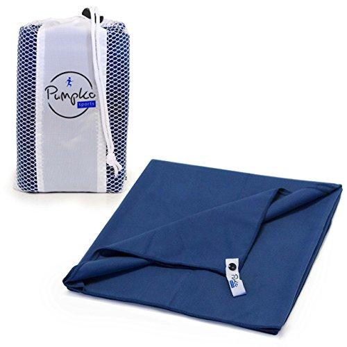 Pumpko® Sports Microfaser-Handtuch mit integrierter Tasche | 60x120 cm groß | Blau |Sauna Mikrofaser-Handtuch, Fitness-Sport-Handtuch, Reisehandtuch, Badetuch, Strandhandtuch XXL, Outdoor Backpacker