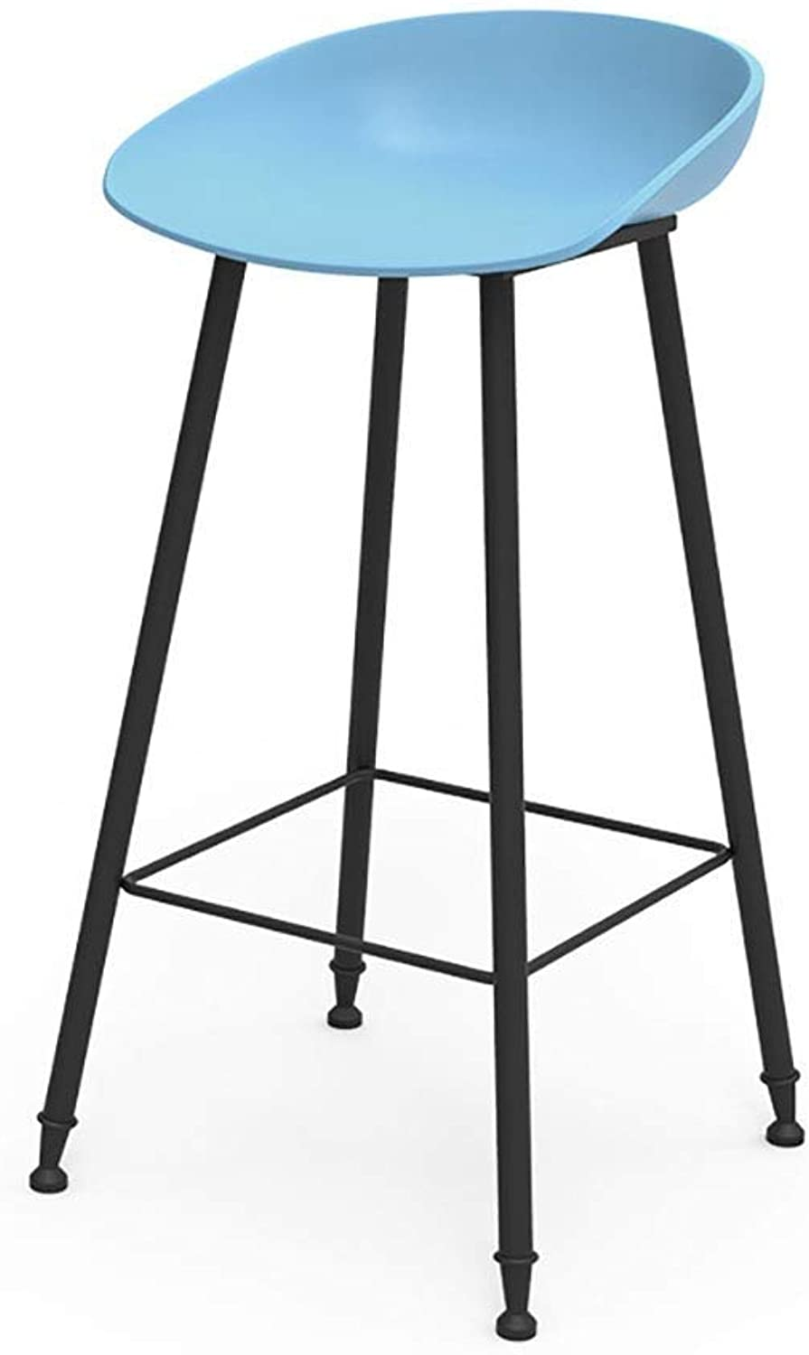 Bar Stool Metal Legs,Fixed Height Barstool,Black Matte Resin Seat, Office,Coffee House,Home,Restaurant LEBAO (Size   bluee)