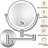 Makeup Mirror Wall Mounted, 1X/7X Magnifying Vanity Mirror with Lights, Dimmable Two-Sided 27 LED Lighted Cosmetic Mirrors with Touch Switch for Bathroom/Bedroom/Hotel, Powered by Rechargeable Battery