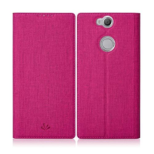 Eastcoo Sony Xperia Xa2 Plus Hülle Schutzhülle Tasche Handyhülle Cover PU Leder Folio Flip Dünn Premium klappbares Book Hülle [Mit Standfunktion][Kartenfach] [Wallet] Für Sony Xperia Xa2 Plus (Rose)
