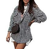 Gaeryuee Mujeres Solapa Pata De Gallo Botton Down Blusa Casual Camisa Manga Larga Suelta Tops Solo Breasted Swallowtail Coat, Negro, M
