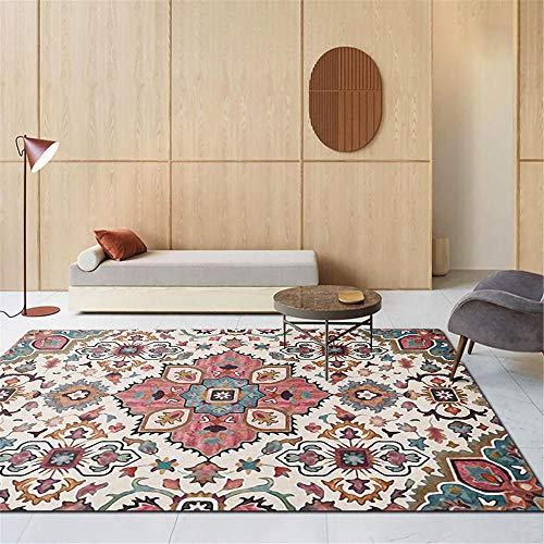 RUGMYW Facile da Mantenere tappeti Bimbi cameretta Classic Vintage Print Blu Rosso Beige Giallo tappeti Neonati Gattonamento 80X160cm